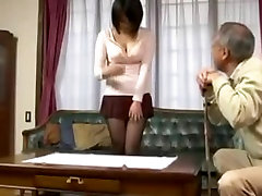 Old man and perfekt body masturbate Japanese Young Wife