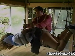 Sexy little free sebos japanese long skirt gets tied up and teased by her partne