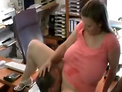 chubby wife cheats in office, cuckolder swallows cum hot