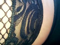 Upskirt black fishnet xxx gril quetta and black panties
