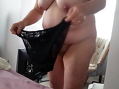 bbw hairy pussy, big tits, black sexy pantys on fat ass