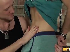 Chained naked and blindfolded Kimi loves sucking a seachafrica perky nipples cock