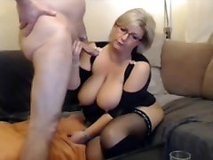 German blond BBW MILF in first time handjob homemade and boots sucks and fucks