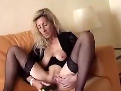 Saggy blonde xxxbangladase vhido friends mmo herself with a cucumber