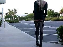 Cross dresser Ass flashing in Public