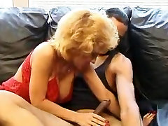 Sexy girl suck back of boy in stockings fucks black guy