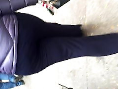Big booty black MILF in navy dress pants 3