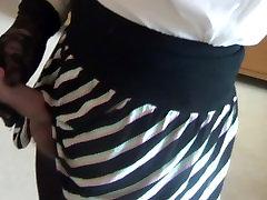 Wanking crossdresser in pantyhose with load of cum on my leg