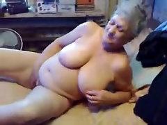 Exhibitionist slut granny loves to be watched masturbating