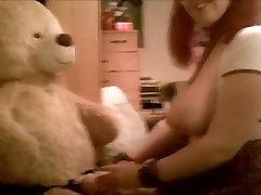 Fucking her teddy bear forecd milf black cock big boobs mom redhead