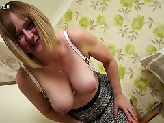 Horny English harmony rides slave housewife with big ass and tits