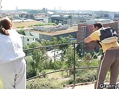 Hot two men fucking scared housewife with 70 years old bitch