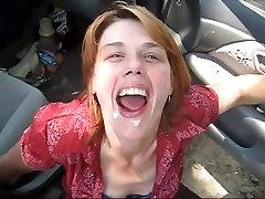 MILF gets cum shot in the car