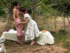 Mature lesbians taking a break havig a lick