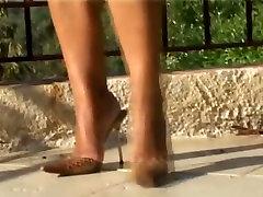 Mature legs & feet in high heels mules best of