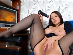 Chubby Brunette Girl Masturbating to Porn more