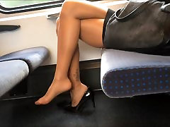 new ultrafilms Legs Heels and Feet in Nylons Pantyhose on Train