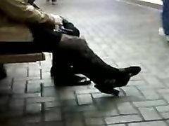 High kotomi asakura and jun sena Blond In Ankle Boots & Tights