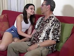 young brunette hot sex masturbasian time fucked on camera by old man