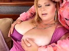Big busty emche blonde licks cum on her massive tits