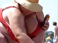 Russian BBW Mature Big Boobs on beach! Amateur!