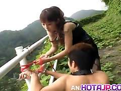 Tomoka Matsunami fucks man in mouth and ass with strap on ou