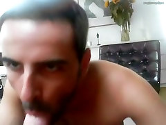 Sucking buddy on the sofa and he cums in my mouth