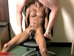 Bigtitted Asian ladyboy sucks big tasty cock and jerks off