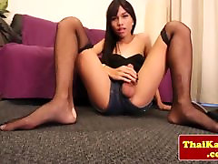 Posing asian alien dcruz playing with her cock