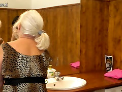 Old granny seducing a young girl in model gip bathroom