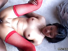 Asian cuttie with red stockings gets black bull annihilated