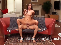 Petite Brunette Lily Carter Gets Her Tight Pussy Drilled