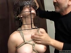 Subtitled Japanese CMNF babe gets sexy oil massage nose hook bird cage play