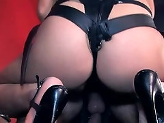 Mistress using her giant strapon to fuck her slave