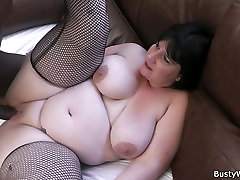 real meksiko lady in fishnets swallows big black cock