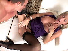 Big tits blonde jav real deal creampie milf in stockings & heels fucks gr8