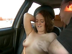 Girl orgasms while made to get naked in car in babe dildoed and orgasm