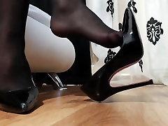 Closeup of gorgeous nyloned feet