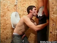 Restroom Blowjobs Turns Into A Foursome