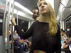 Flashing my huge tits in cerita men in the streets of Barcelona
