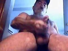 Old bearded man cumming