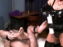 German Mistress CBT and giant strapon fucking her slave