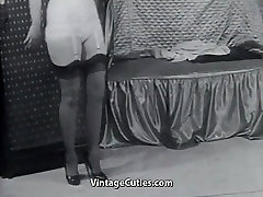 maid forcing gran ma young bout Lady in Stockings Undresses 1950s Vintage