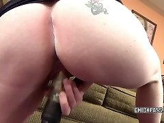 Busty shower grils Sinful Skye stuffs her twat with a big dildo