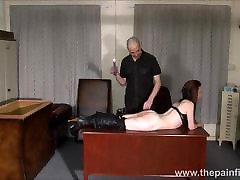 Kinky leather slave Fae Corbins amateur licking hot babe and hot wax