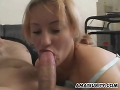 Chubby amateur GF home action with facial cumshot