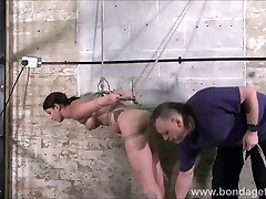 Amateur bondage of suspended Lexy tied up in creative rope