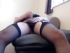 Another quick cum in stockings and suspenders