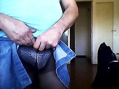 wearing my new rose panties and black pantyhose