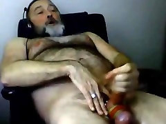 Hairy daddy loves cock rings
